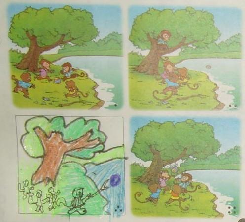一年级看图写话《园地8》小猴捞皮球